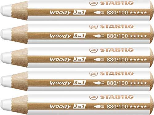 Buntstift, Wasserfarbe & Wachsmalkreide - STABILO woody 3 in 1 - 5er Pack - weiß