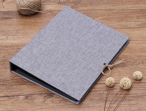 Dhao Álbum de fotos de lino de 26,5 x 21 cm, libro de recuerdos 60 páginas negras para el día del padre y los niños, regalo de San Valentín, 4 x 6, 10 x 8, libro de fotos autoadhesivo, color gris
