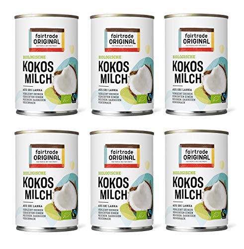 6 x Bio Kokosmilch 400 ml Dose | von Fairtrade Original | aus Sri Lanka | ideal für asiatische Gerichte | für einen reichen, sahnigen Geschmack | 100% Bio (6 x 400 ml)