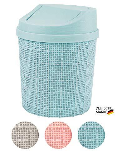 goodspot® Tischmülleimer (türkis) mit Schwingdeckel 1,5l Tischabfalleimer Schreibtisch kompaktes Design Kosmetikeimer Mini Mülleimer Bad für den Waschtisch