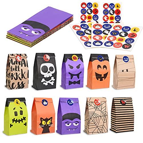 Cymax 50 Stück Halloween Geschenktüten mit Aufkleber,Halloween Partytüten Candy Papier für Halloween Supplies,Geburtstag,Party