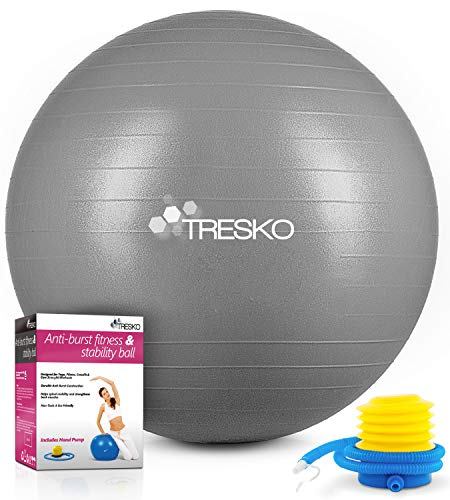 TRESKO Gymnastikball mit GRATIS Übungsposter inkl. Luftpumpe - Yogaball BPA-Frei | Sitzball Büro | Anti-Burst | 300 kg,Grau,75cm (für Körpergröße 175 - 185cm)