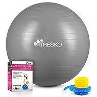 TRESKO® Exercise Ball   55-85cm Gym Ball with Pump   Anti-Burst & Extra Thick Exercise Ball   Birthing Ball for Yoga, Pilates, Fitness
