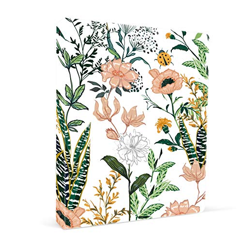 ZAXMEY 3 Ring Binder 1 Inch Ring, Fashion Design Binder for School, Home, Students, Women, Man and Kids, Cute Custom Pattern, with Hold Letter Size Interior Pockets, Flowers