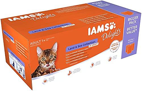 Iams Delights Land Sea Collection In Jelly : Viande et poisson en gelée pour chats adultes (48 sachets de 85g)