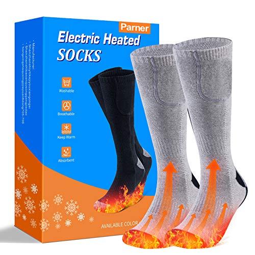 Beheizte Socken, Elektrische Warme Socken, Elektrische Wiederaufladbare Batterie Thermische Socken, Fußwärmer Socken Heated Socks mit 3 Dateien Einstellbarer Temperatur für Damen Herren. (Grau)