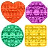 4 Pack Push pop pop Bubble Sensory Fidget Toy, Autism Special Needs Stress Reliever Silicone Stress Reliever Toy, Squeeze Sensory Toy
