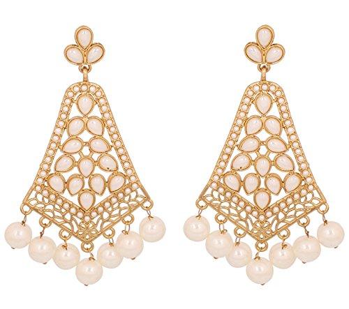 Touchstone Indische Bollywood-Kunstperlen lange Kronleuchter Schmuck Ohrringe für Damen Gold