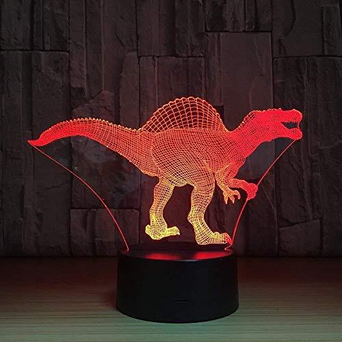 3D Luz nocturna para niños LED Luz de Noche tiranosaurio ideal como regalo de cumpleaños para niños, niños y hombres Con interfaz USB, cambio de color colorido