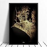 Leinwanddruck,Lima Schwarz Golden Custom Welt Stadtplan