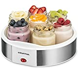 Gourmia GYM1610 Auto Yogurt Maker - Includes 7 Glass 6 oz Jars and Lids - Custom Flavor & Thickness - BPA Free - Bonus Recipe Book Included