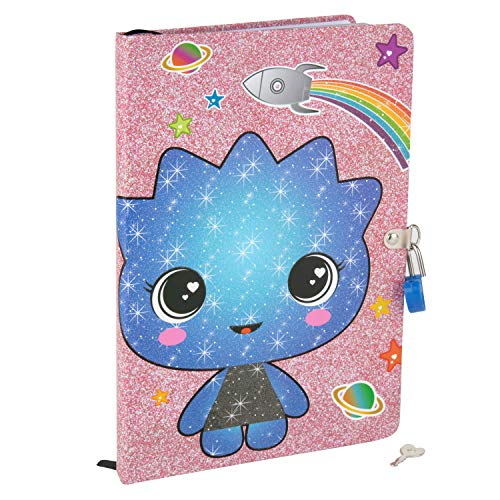 Seven20 Glitter Galaxy Diary for Girls with Lock and Key - Sparkly Cute Hardcover Kids Journal Notebook with Bookmark - 160 Pages