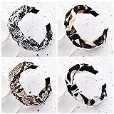 Diademas con estampado de leopardo para mujer, 4 paquetes de tela mixta Alice, bandas elásticas para el cabello al aire libre (ArchSnack)