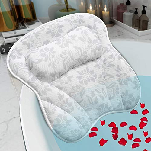 SVEUC Bath Pillow,Bathtub Pillow for Tub,Luxury Bath Spa Pillow with Head Neck Shoulder and Back Support,Comfortable Soft Breathable Bath Cushion with 6 Suction Cups,Fits All Bathtub,Hot Tub,Jacuzzi