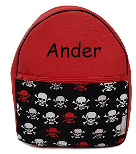 Der Rucksack, der Schulrazen, der Schultasche oder Kindergartentasche mit der Name personalisiert. Mehrere Modellen. (Schädel)