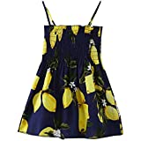 CM C&M WODRO Baby Girl Floral Dress Summer Outfits Kids Toddler Strap Casual Beach Sunflower Dress Playwear Clothes (Yellow Lemon,130(4-5T))