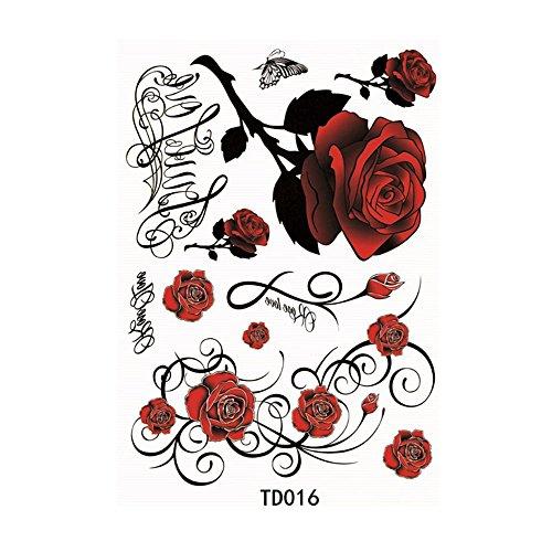 Refaxi 1x Rose Flower Temporary Tattoos Sticker Body Art 3d Roses Tatoo Waterproof Diy Wantitall