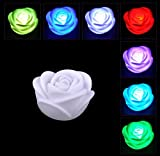 Chris.W 6Pcs Fancy Colorful 7 Colors Changing LED Rose Flower Romantic Wedding Valentine's Day Decoration Party Lamp Candle Flameless Lights Make a Wish Lights