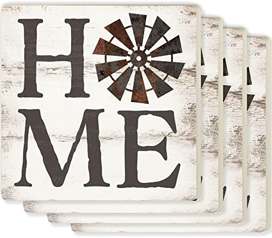 Home Windmill Whitewash Look 4 X 4 Ceramic Coaster 4 Pack