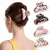 Twinfree 4 Pack Flower Pattern Plastic Woman Clamp Teeth Design Hair Clip Claw Barrette (color 4)
