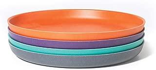 EKOBO Kids Bamboo 4-piece 9'' Plate Set, Medium, BIOBU Eco-material, Assorted Colors