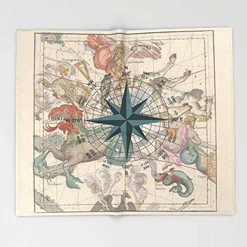 Manta de brújula Diseño de Arte Mapa de Constelaciones Antiguas Mantas de Lana y Manta para Camas Manta de Lana para Adultos 150X200
