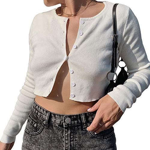 Bolero de Punto para Mujer, Manga Larga, con Botones - Blanco - Medium