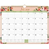 2021-2022 Calendar - 18 Monthly Wall Calendar with Thick Paper, 15' x 11.5', Jan. 2021 - June. 2022, Twin-Wire Binding + Hanging Hook + Large Ruled Blocks with Julian Dates - Floral