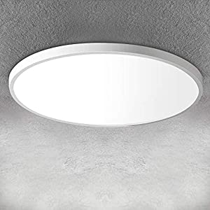 LED Flush Mount Ceiling Light Fixture 12 Inch 24W, 3200LM, 5000K Daylight White Modern Ceiling Lamp, IP40 Flat Round Lighting Fixture for Bedroom Closet Stairwell Hallway Kitchen, 240W Equivalent