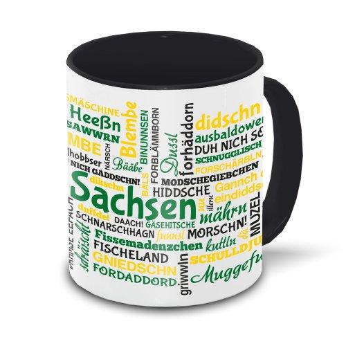 Sachsen-Tasse Tagcloud - weiß/schwarz - Tasse mit typischen Wörtern im sächsischen Dialekt