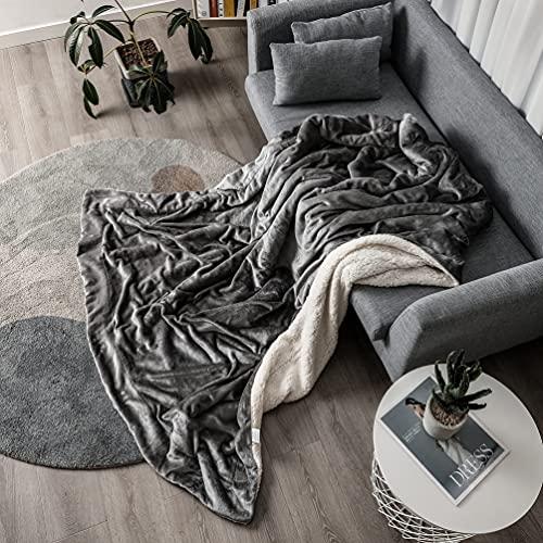 Kuscheldecke Kunstpelzdecken 160x200cm Superwarme Elegante Flauschige Dekorative Decken für Sofas und Betten(Grau)