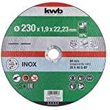 kwb 712123 AKKU-Top-Disco de Corte extrafino (230 x 1,9 para Amoladora Angular de Acero Inoxidable y Metal, Orificio de 22,23 mm), 230x1,9