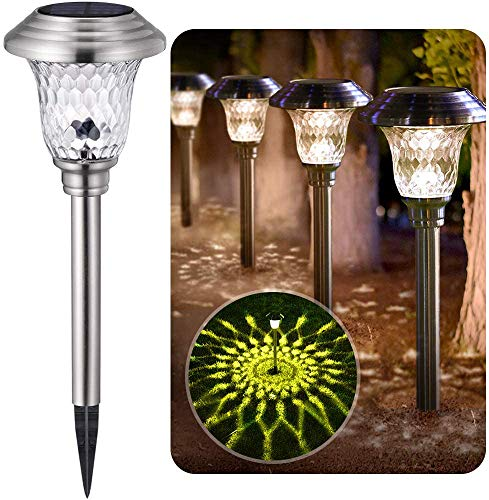 BEAU JARDIN 4 Pack Solar Lights Pathway Outdoor Garden Path Glass Stainless Steel Waterproof Auto On/off Bright White Wireless Sun Powered Landscape Lighting for Yard Patio Walkway Spike Path Light