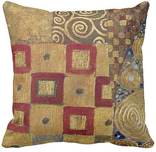 Deko-Kissenbezug für Jubiläum, Jugendstil, Klimt, Gold, Rot, alte Spiralen, quadratisch, 45,7 x 45,7 cm