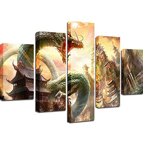 SXXYXH Leinwand Wandkunst Mythischer Drache Ölgemälde Drucken HD Inkjet Dekorativer Anstrich des Modernen Hauptschlafzimmer-Wohnzimmers 5 Panels,B,L