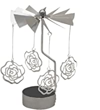 MagiDeal Rotary Spinning Carousel Tea Light Birthday Gift Metal Candle Holder Decor - Rose, as described