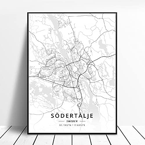 Landskrona Gothenburg Karlstad sodertalje kalmar Sundsvall Sweden Canvas Art Map Poster ?ZW-12? Ingen ram poster 40x60cm