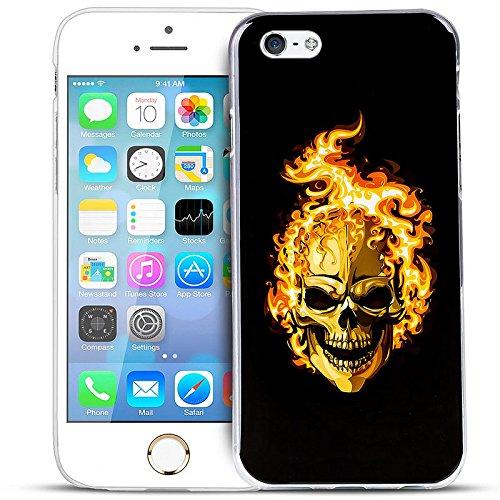 Anukku Custodia Cover Trasparente Ultra Slim Fina in Air Gel 0.3mm Design Teschio per Apple iPhone 5 - iPhone 5s - iPhone SE