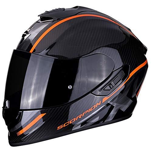 Scorpion - Casco integral EXO-1400 grand negro naranja de fibra de carbono para scooter moto con visera interna SpeedView solar retráctil, protección calota exterior TCT (L)