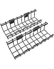 KD Essentials – Kabelkorf van metaal, 2 st. per verpakking – kabelhouder (bureaublad onderbouw of aan de wand, schroefmontage, voor het verbergen van kabels, opladers, stekkerdozen, zwart)