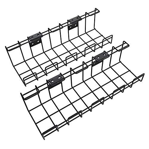 KD Essentials – Bandeja para cables de metal, paquete de 2 unidades (instalación bajo mesa o en pared, atornillable; permite esconder los cables, fuentes de alimentación y regletas de enchufes; negro)