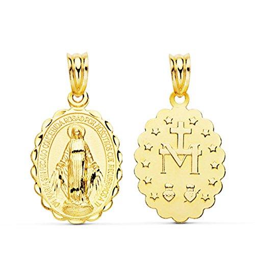 Colgante Virgen María Milagrosa Oro Amarillo 18 Kilates Medalla religiosa tallada 20mm
