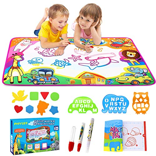 PHYLES Doodle Tappeto Magico, 87 x 57cm Disegno Magico Mat 6 Colorati Acqua Disegno di Doodle Scribble Boards- Giocattolo Gioco Educativo Regalo per Bambini