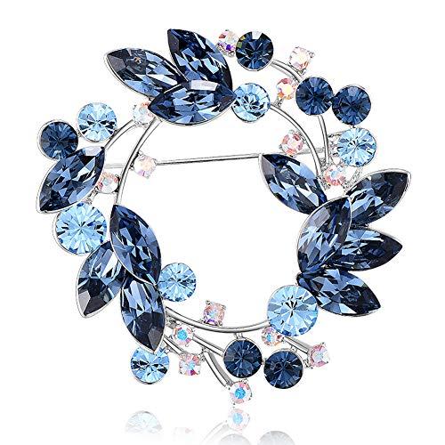 Yuzhijie Broche coreano de alta gama, joyería de cristal austriaco, broche de flores, chaqueta de mujer, alfiler de cuello, accesorios de alfiler, color azul