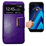 Todobarato24h Funda Libro Ventana Compatible con Samsung Galaxy A5 2017 Morada + Protector DE Cristal Templado