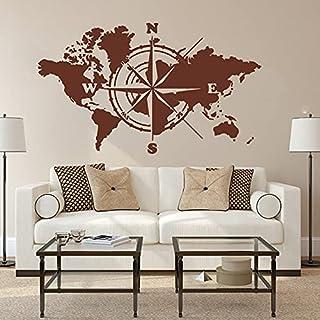 Grote Wereldkaart Atlas Van De Wereld Kompas Muursticker Kantoor Klaslokaal Global Earth Wereldkaart Decal Slaapkamer Viny...