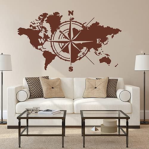 Gran mapa del mundo, brújula del mundo, pegatina de pared para oficina, aula, tierra global, mapa del mundo, calcomanía, pegatinas de vinilo para pared, A3 72x42cm