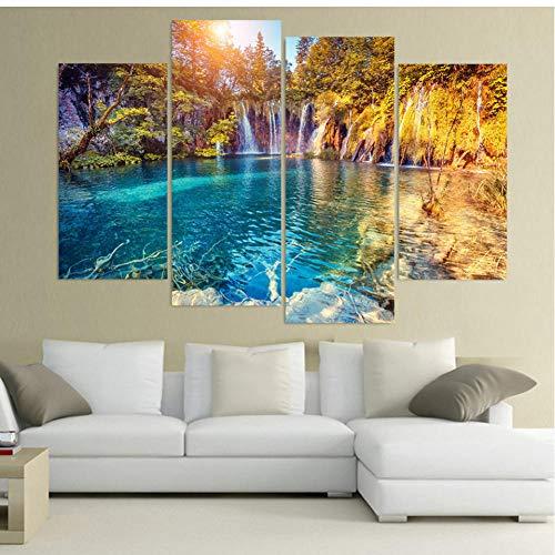 LTTGG HD Print Canvas Wall Art Modular Framework Painting Popular Poster 4 Panel Clear Pool Nature Picture Decor Schilderijen
