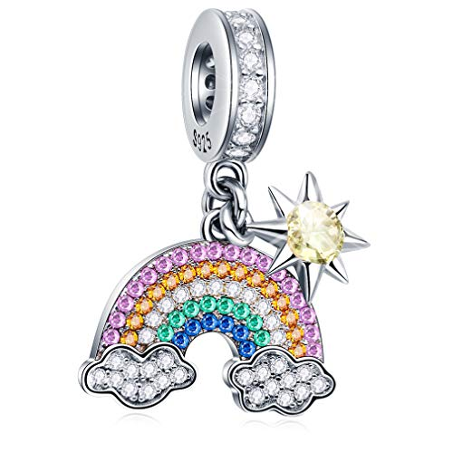 Meet the Rainbow After Rain Sunshine Cloud Rainbow Charm Pendant Beads 925 Sterling Silver Charms with Multicolor CZ Stones Compatiable with Pandora Bracelet Gifts for Women/Wife/Mother/Sister/Girl