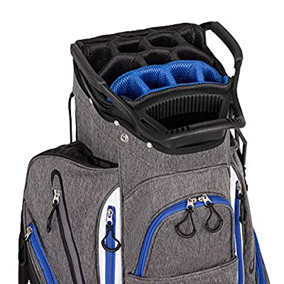 Founders Club Franklin Golf Push Cart Bag -Riding Cart Bag -Full Bag Rain Cover -Secure Push Cart Base -Light Weight -15 Way Full Length Divider-External Putter Tube-Embroidery Panel (Blue)